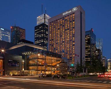 Hilton Toronto Hotel, Ontario Canada - Hotel Exterior at Night   Ontario M5H 2L2