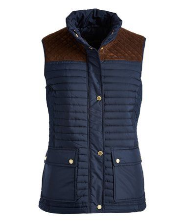 Look at this #zulilyfind! Dark Sea & Brown Vest #zulilyfinds