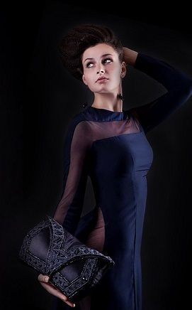 Evening dress - fashion designer Dominika Vespa. Purse by Renata Vespa