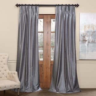 Exclusive Fabrics Signature Pinch Pleated Blackout Solid Faux Silk Curtain Panel (White – 84 Inches – 25 x 84)