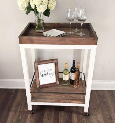 DIY Vintage bar cart (free woodworking plan) // Vintage stílusú gurulós zsúrkocsi fából - barkácsolás // Mindy - craft tutorial collection // #crafts #DIY #craftTutorial #tutorial #DIYFurniture
