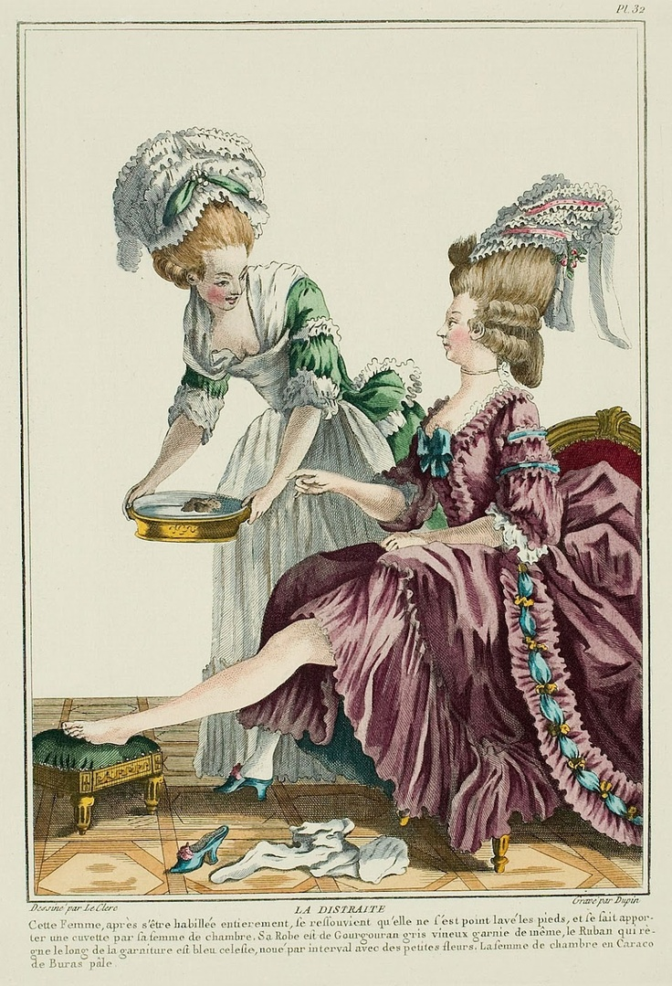 THE DISTRACTED WOMAN. This woman, after being entirely dressed, remembers that she has not washed her feet.