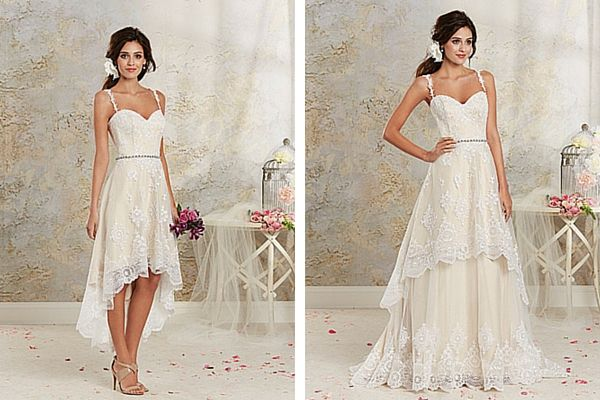 Removable Skirt Wedding Dress for Beach Weddings. Alfred Angelo Hi- Low Modern Vintage Bridal Gown
