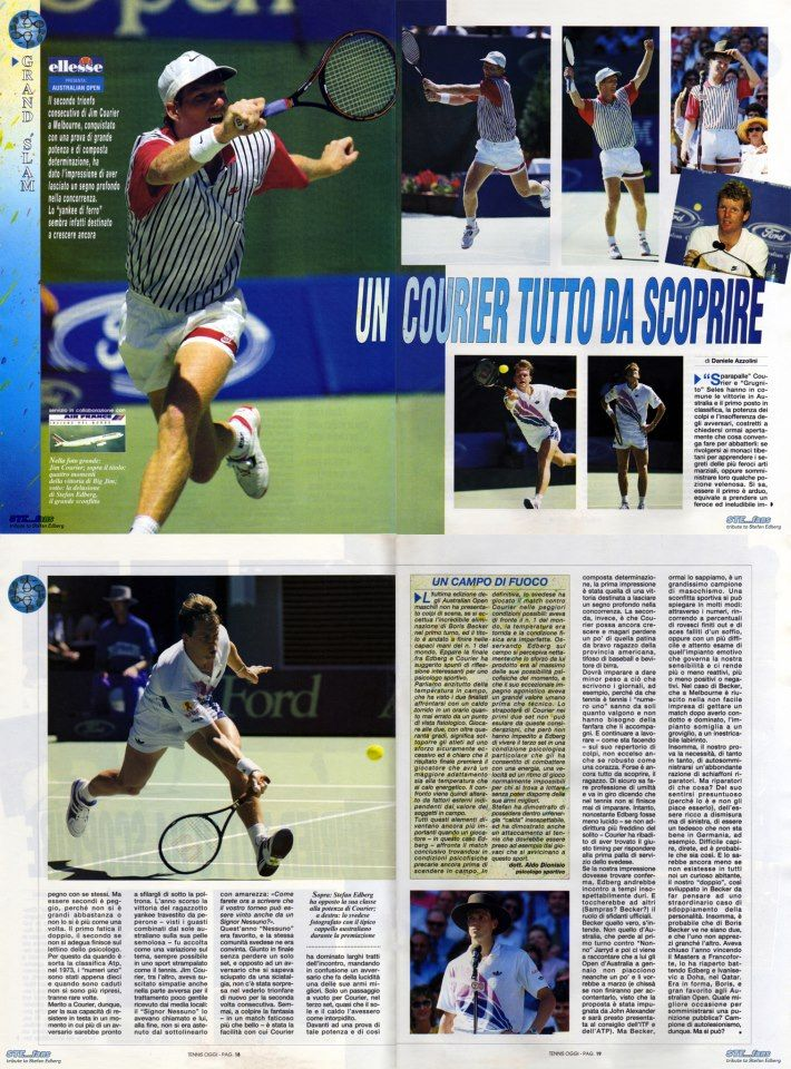 """In the issue of March 1993 of Italian magazine """"Tennis Oggi"""" a special report by Daniele Azzolini is dedicated to Jim Courier's second successive victory at the Australian Open against Stefan Edberg in the final."""