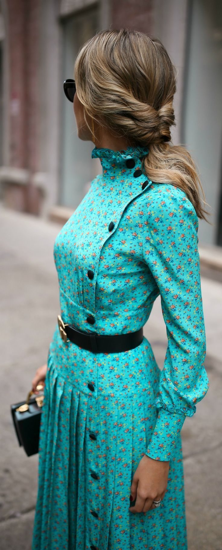 Fall Florals + Slide Pumps //  Turquoise floral victorian pleated maxi dress, small black box bag, leather belt, black sunglasses {Alessandra Rich, Mark Cross, Gucci, New York Fashion Week, NYFW}