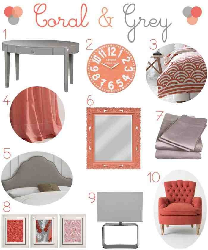 Coral And Grey Bedroom Colors