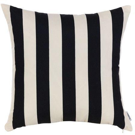 Black and White Striped Decorative Pillow -43x43 cm