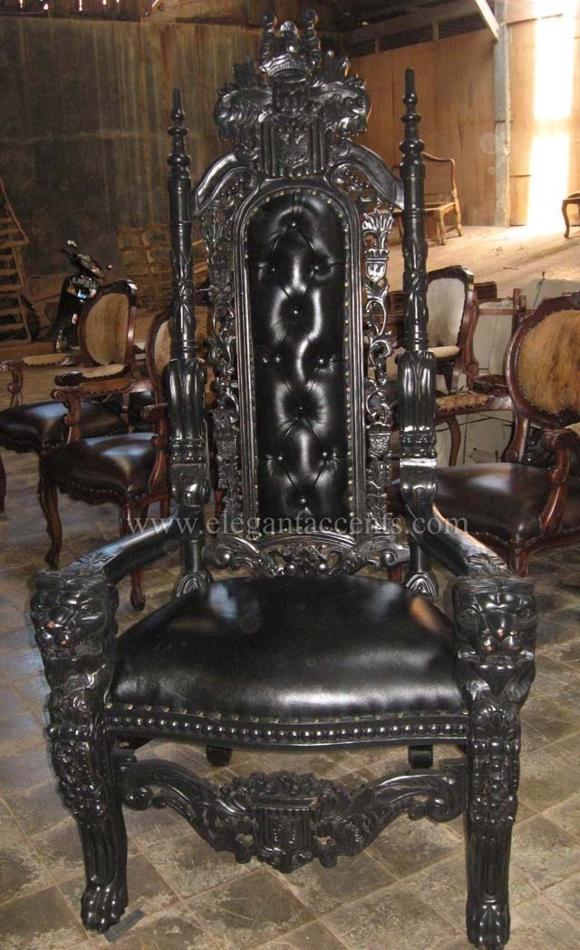 Carved Mahogany King Lion Gothic Throne Chair Black Paint