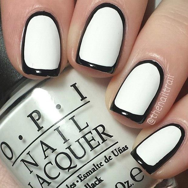 Black and White Borderline Nail Design for Short Nails