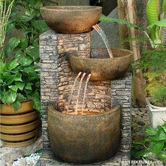 Garden+Fountains | Unique 3 tier cascading pot indoor / outdoor garden fountain