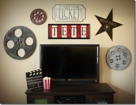 "I love the film reels and the family name on a star.  The family name in ""Hollywood"" sign letter style would also be cool."