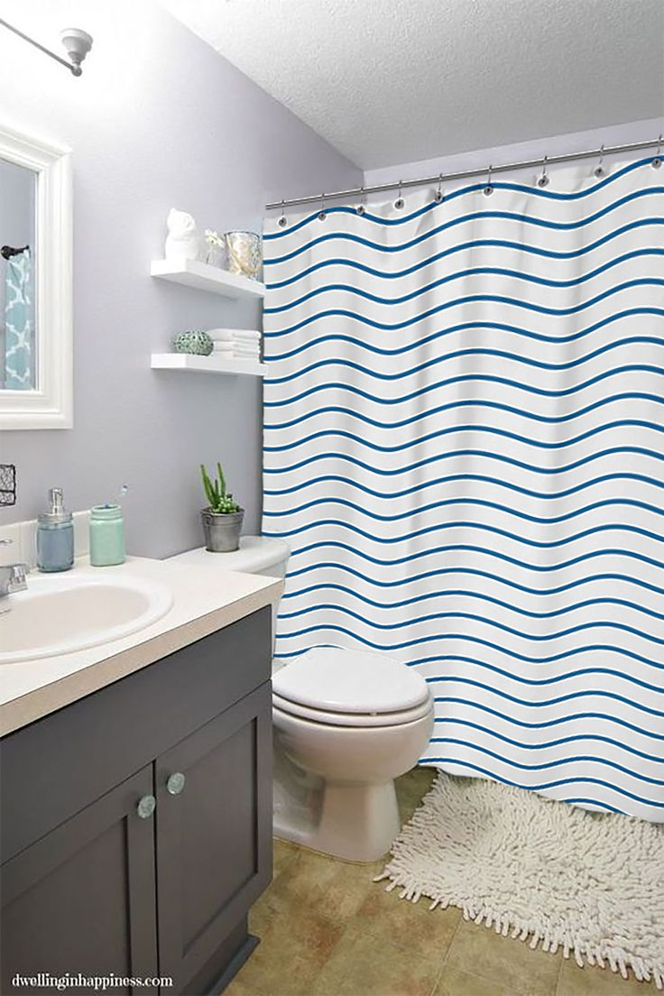Ad waves to your bathroom by changing your shower curtain.