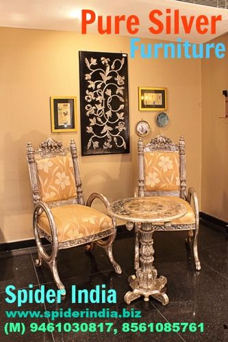 pure silver chair, chair, silver, german silver , white metal silver side table