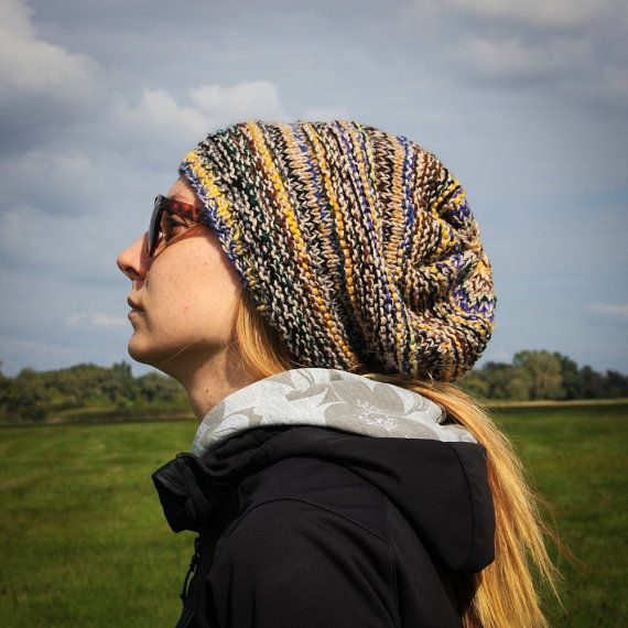 Multicolored Flecked Slouchy Beanie Hat /Color Changing Hippies Style Hat /Winter Fall Colors Urban Beanie /Warm Brown Green Blue Yellow Hat