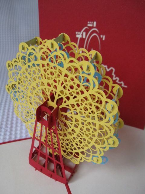 3D  Pop Up Ferris Wheel Greeting Card  Birthday Card  by Talksite