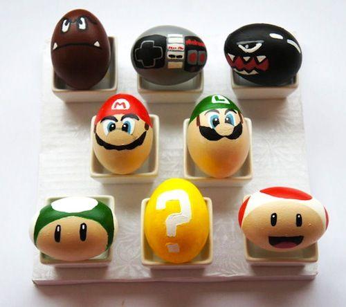 Huevos de pascua decorados con los personajes de Supermario Bros