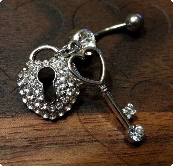 Key and Heart Lock Belly Button Ring