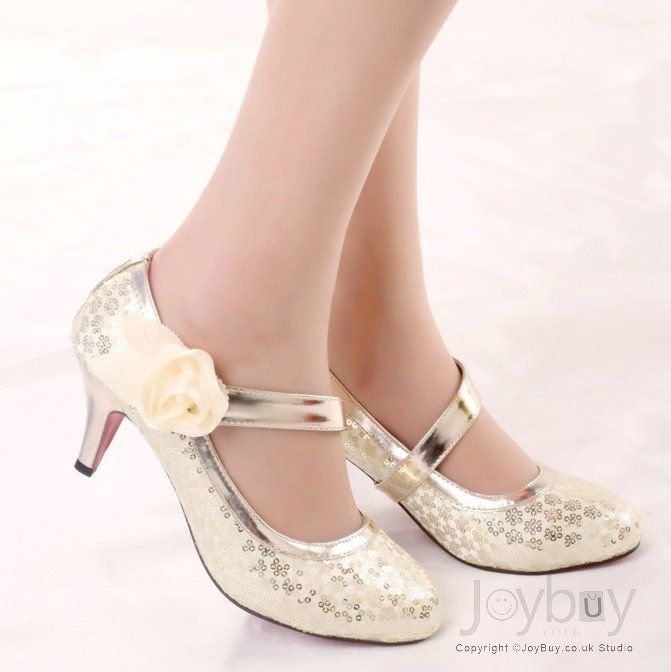 Sequins Lace Up Low Heel Round Toe Wedding Shoes