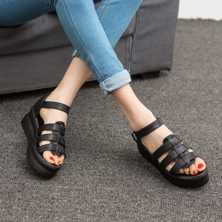 Cheap shoe clasp, Buy Quality sandals cheap directly from China shoe stores sandals Suppliers: 2016 soft cut outs ankle strap women Light shoes roman style thick bottom novelty platform girl's casual sandals black/white