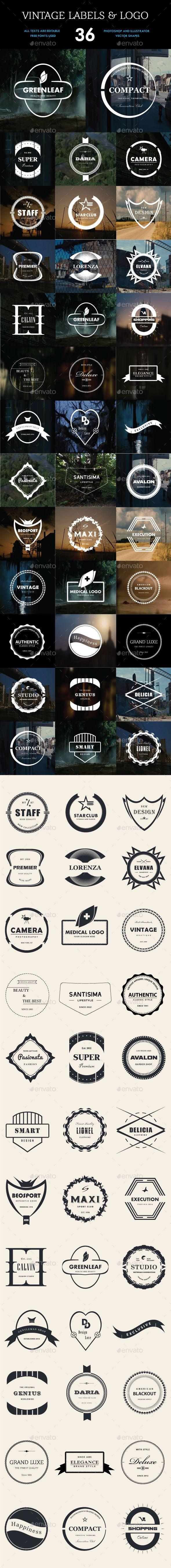 36 Vintage Labels & Logo Badges Templates  PSD, Vector EPS, AI Illustrator. Download here: https://graphicriver.net/item/36-vintage-labels-logo-badges-bundle/16821420?ref=ksioks