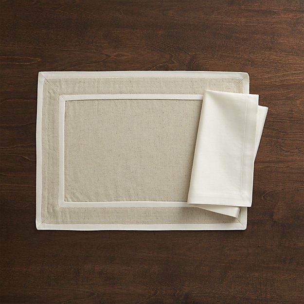 Walker Neutral Placemat and Sateen Ecru Napkin | Crate and Barrel