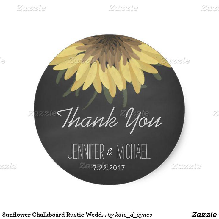 wedding stickers for invitations%0A Sunflower Chalkboard Rustic Wedding Classic Round Sticker