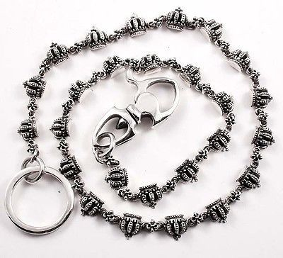 WALLET CHAIN STERLING SILVER 925 CROWN LINK – Silverlogy