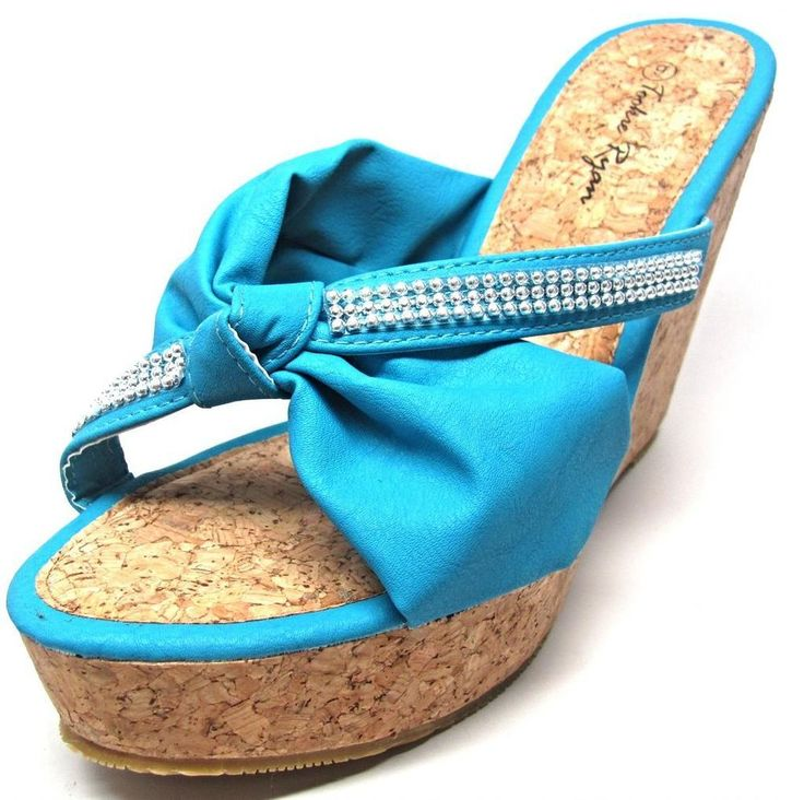 Teal Blue Cork Platform Wedge Beaded Knot Slip On Sandals Shoes Size 6 - 11  NEW
