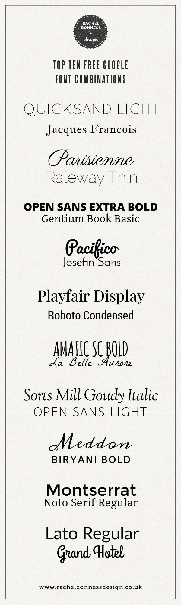 Top Ten free Google font combinations by Rachel Bonness Design #fontpairing #fontcombination #googlefont