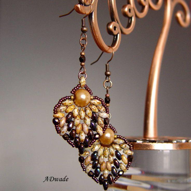 Náušnice - Korálkové náušnice Medové srdce - 4539458_
