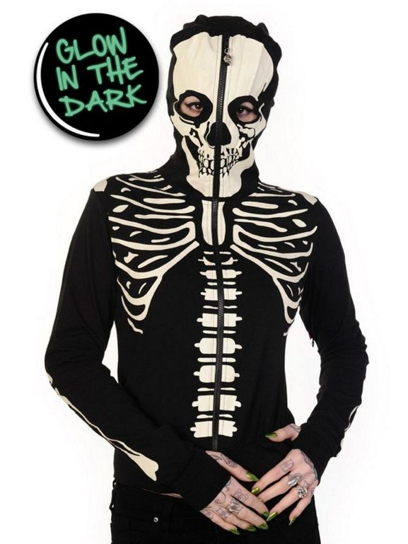 Glow In The Dark Skeleton Hand Hoodie