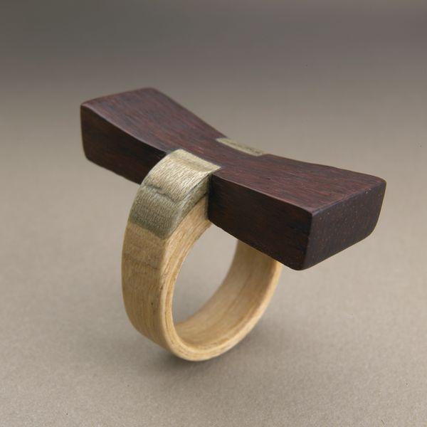 Ring | Gustav Reyes.  Wood.  Homage to George Nakashima.