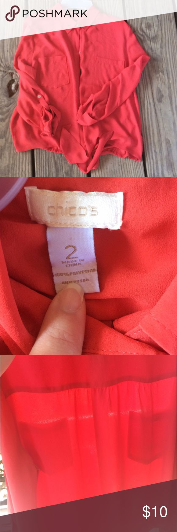 Chico's Tie Front Blouse Chico's tie front blouse. Like New Condition! Size 2. Feel free to ask questions! Chico's Tops Blouses