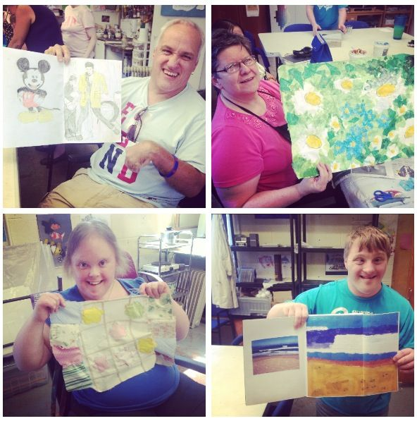 Our members creating some wonderful pillows and paintings in their art class.