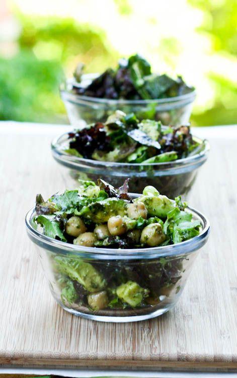 Avocado Chickpea Pesto Salad Recipe.