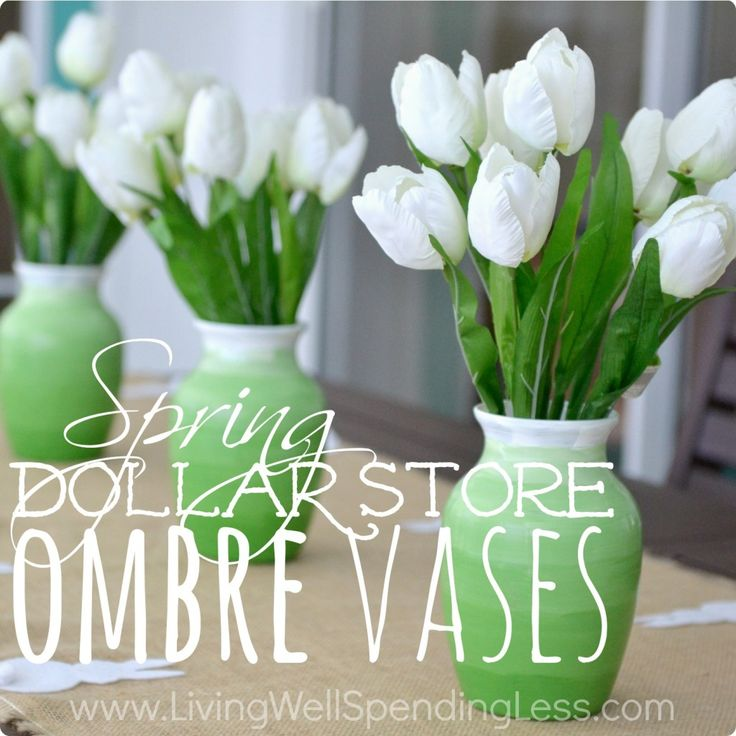 Sue - Dollar Store Ombre Vase Using Martha Stewart high gloss acrylic craft paint on outside of vase.