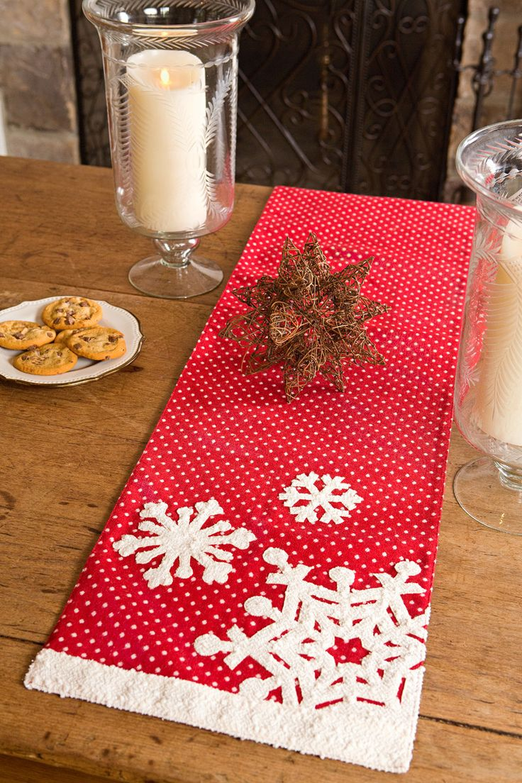 Features:  -Shimmering gilded snowflakes and trim, vintage polka-dot whimsy, Soft and warm red backdrop.  -Matching placemat and runners available.  -Hand wash in cold water.  Color: -Red; White.  Pat