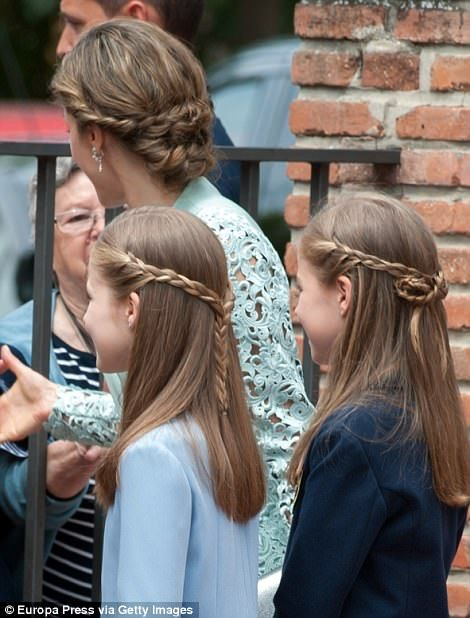 It appears that the mother and daughters all visited the same hairdresser ahead of the event, right, all opting for chic plaited 'dos