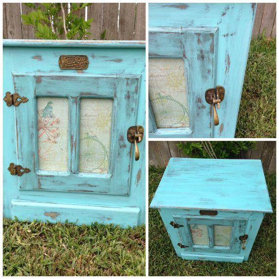 painted icebox | White Clad Ice Box turned Shabby Chic night stand