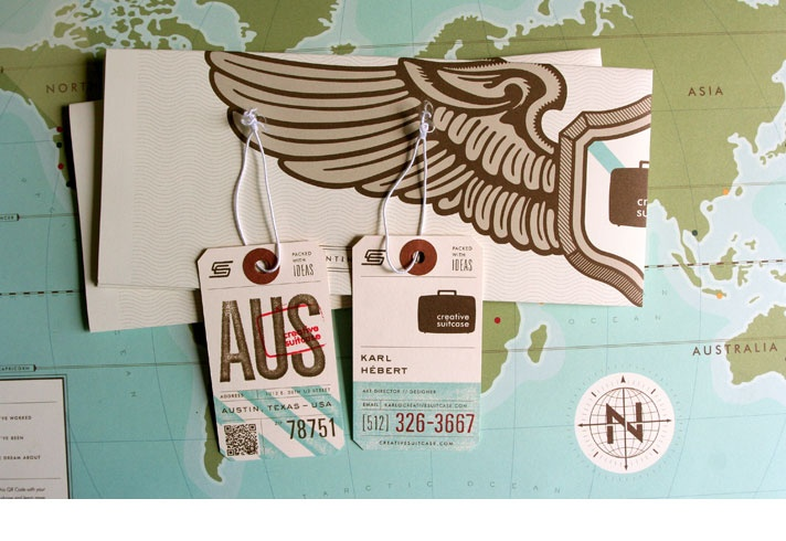 Travel-inspired luggage tags, map, and envelopes | Design by Karl Hebert for Creative Suitcase