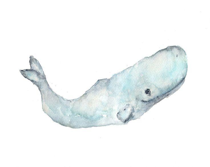 Whale painting, watercolor whale art, ocean life, sperm whale, beach theme, original watercolor, blue, sea - 10X8 painting