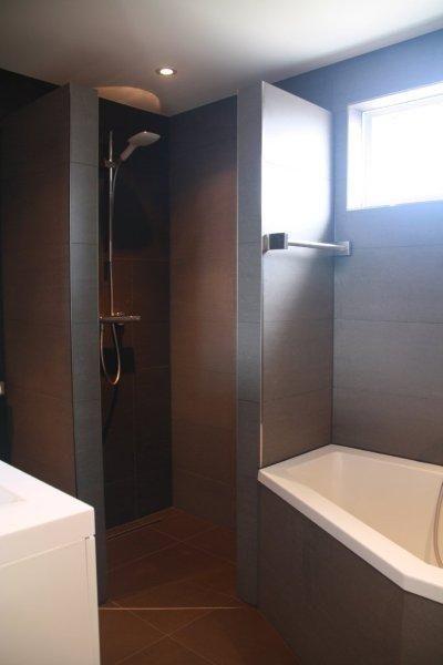 Heel handig voor een kleine badkamer, zo'n douche.: