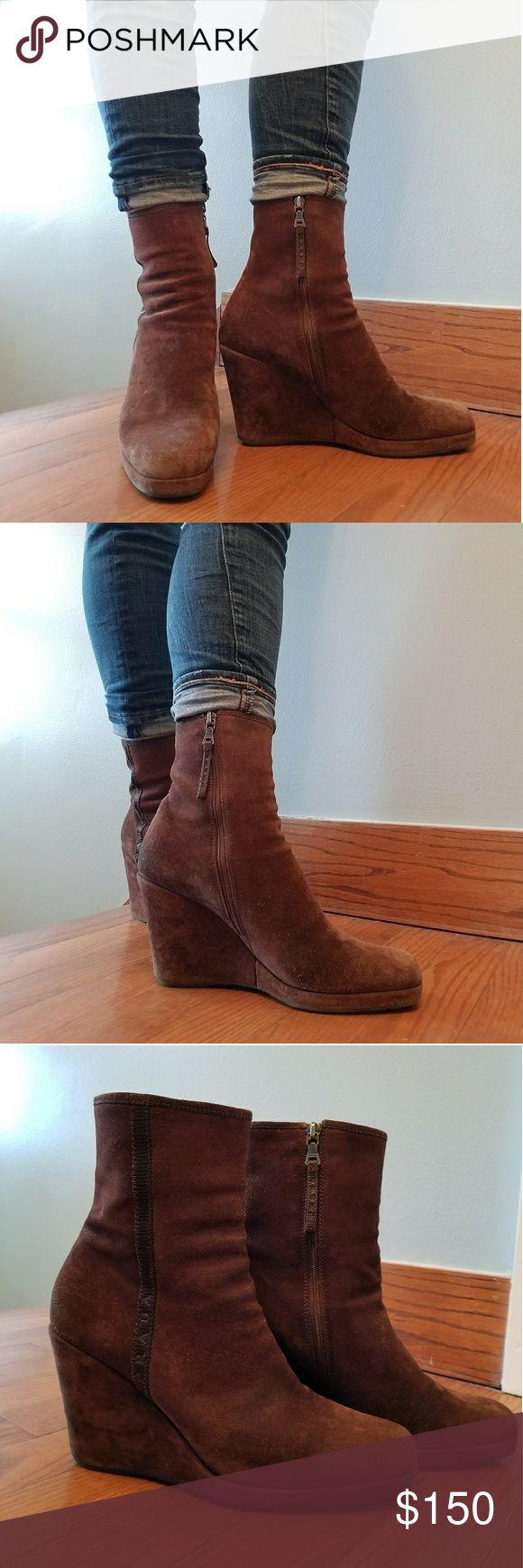 Prada Suede Brown Wedge Boots Prada Suede Brown Wedge Boots, Zippered Side Closure, EUC. Prada Shoes Wedges