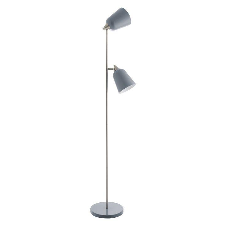 Double Grey Metal Twin Head Floor Lamp Floor Lamp Gooseneck Floor Lamp Wooden Floor Lamps