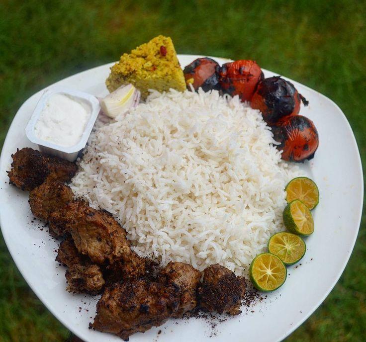 Vegan Chenjeh Kabab or Shish Kabab. Persian کباب چنجه