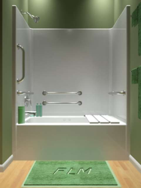 One Piece Handicap Tub Shower Combo with Whirlpool