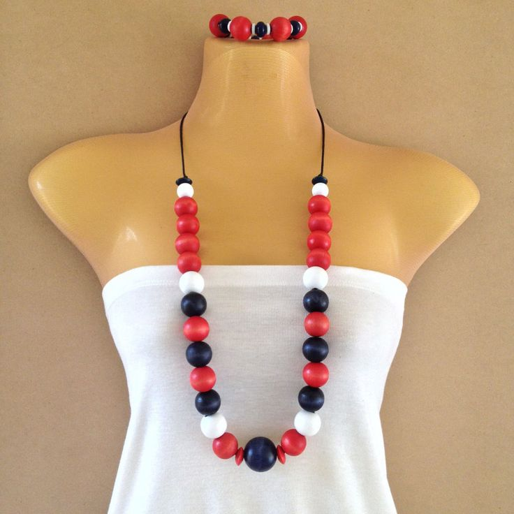 Multi coloured - Red, white, navy blue wooden bead necklace and bracelet set | eBay