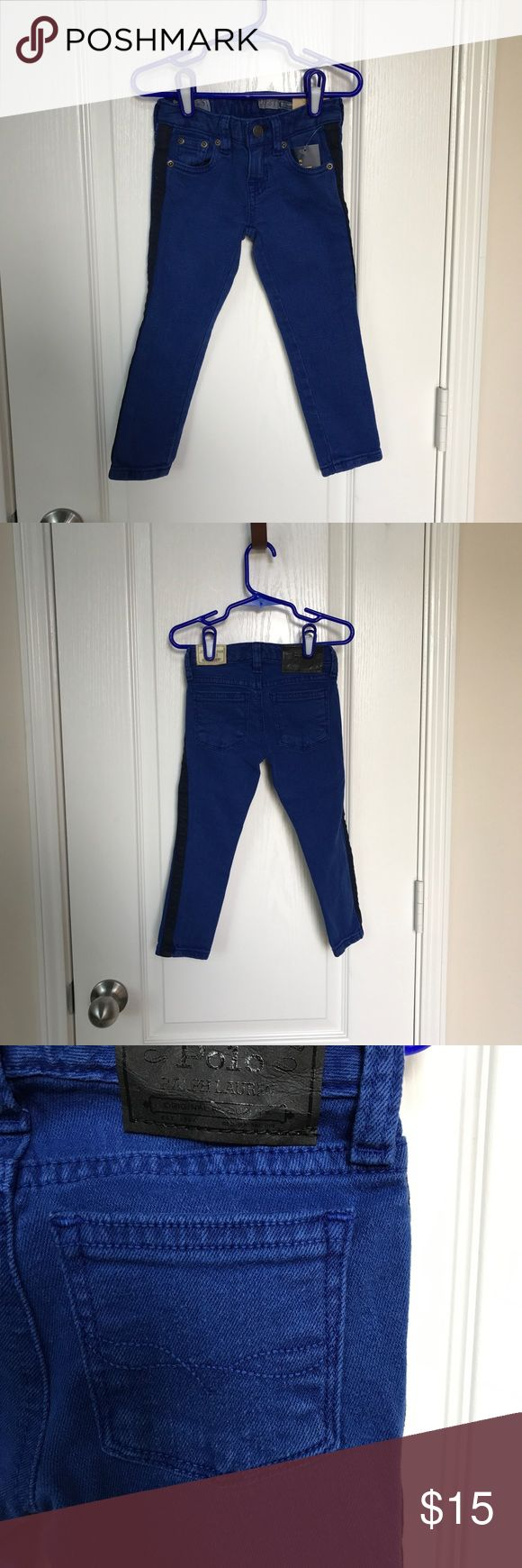 Polo Maryanne Toddler Jeans Girls NWT. Adjustable waist straps. These jeans feature a black stripe on each jean leg. Size: 2t. Color: Blue. Feel free to ask if any questions. Polo by Ralph Lauren Bottoms Jeans