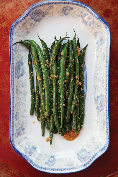 Green Beans with Sesame Sauce Recipe - Saveur.com    1⁄2 cup sesame seeds, toasted    1⁄4 cup soy sauce    2 tbsp. sugar (splenda)    Kosher salt, to taste    1 lb. green beans, trimmed    2 tbsp. rice vinegar    2 tbsp. finely chopped scallions    2 tsp. minced fresh ginger