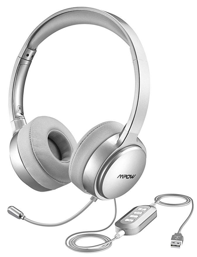 Amazon Com Mpow 071 Usb Headset 3 5mm Computer Headset With Microphone Noise Cancelling Lightweight Pc Heads Wired Headphones Computer Headphones Headphones